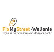 Logo jaune et noir FixMyStreet - Wallonie Madame et Monsieur Agency
